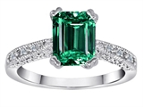 Original Star K™ Solitaire Engagement Ring with Emerald Cut Simulated Emerald and 6 Genuine Diamonds