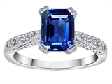 Original Star K Solitaire Engagement Ring with Emerald Cut Created Sapphire and 6 Genuine Diamonds