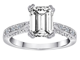 Original Star K Solitaire Engagement Ring with Emerald Cut Genuine White Topaz and 6 Genuine Diamonds