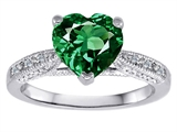 Original Star K Solitaire Engagement Ring with Heart Shape Simulated Emerald and 6 Genuine Diamonds