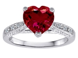 Original Star K Solitaire Engagement Ring with Heart Shape Created Ruby and 6 Genuine Diamonds