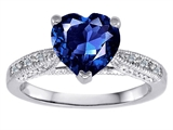 Original Star K Solitaire Engagement Ring with Heart Shape Created Sapphire and 6 Genuine Diamonds