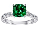Original Star K Solitaire Engagement Ring with Cushion Cut Simulated Emerald and 6 Genuine Diamonds