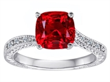 Original Star K™ Cushion Cut Created Ruby and Diamonds Solitaire Engagement Ring style: 304834
