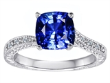 Original Star K Solitaire Engagement Ring with Cushion Cut Created Sapphire and 6 Genuine Diamonds
