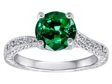 Original Star K Solitaire Engagement Ring with Round Simulated Emerald and 6 Genuine Diamonds