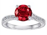 Original Star K Solitaire Engagement Ring with Round Created Ruby and 6 Genuine Diamonds