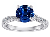 Original Star K™ Round Created Sapphire and Diamonds Solitaire Engagement Ring style: 304839