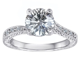 Original Star K Solitaire Engagement Ring with Round Genuine White Topaz and 6 Genuine Diamonds