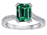Original Star K Solitaire Engagement Ring with Emerald Cut Simulated Emerald and 6 Genuine Diamonds
