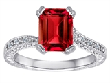Original Star K Solitaire Engagement Ring with Emerald Cut Created Ruby and 6 Genuine Diamonds