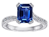 Original Star K™ Emerald Cut Created Sapphire and Diamonds Solitaire Engagement Ring style: 304843
