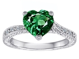 Original Star K™ Solitaire Engagement Ring with Heart Shape Simulated Emerald and 6 Genuine Diamonds