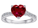Original Star K™ Solitaire Engagement Ring with Heart Shape Created Ruby and 6 Genuine Diamonds