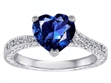 Original Star K Solitaire Engagement Ring with Heart Shape Lab Created Sapphire and 6 Genuine Diamonds