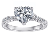 Original Star K Solitaire Engagement Ring with Heart Shape Genuine White Topaz and 6 Genuine Diamonds