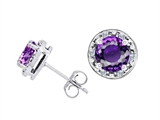 Tommaso Design Genuine 6mm Round Amethyst and Diamond Earring Studs