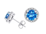 Tommaso Design Genuine 6mm Round Blue Topaz and Diamond Earring Studs