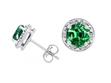 Tommaso Design Simulated 6mm Round Emerald and Genuine Diamond Earring Studs