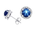 Tommaso Design™ Lab Created 6mm Round Star Sapphire and Genuine Diamond Earring Studs