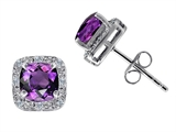 Tommaso Design Genuine 6mm Cushion Cut Amethyst and Diamond Earring Studs