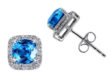 Tommaso Design Genuine 6mm Cushion Cut Blue Topaz and Diamond Earring Studs