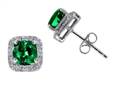 Tommaso Design Simulated 6mm Cushion Cut Emerald and Genuine Diamond Earring Studs