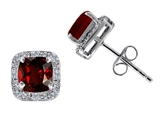 Tommaso Design Genuine 6mm Cushion Cut Garnet and Diamond Earring Studs