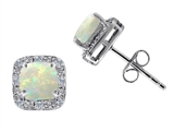 Tommaso Design Genuine 6mm Cushion Cut Opal and Diamond Earring Studs