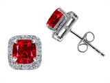 Tommaso Design™ Lab Created 6mm Cushion Cut Ruby and Genuine Diamond Earring Studs