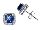 Tommaso Design™ Lab Created 6mm Cushion Cut Star Sapphire and Genuine Diamond Earring Studs