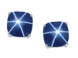Tommaso Design™ 7mm Cushion Cut Created Star Sapphire Earring Studs