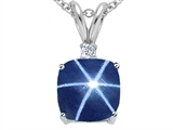 Tommaso Design 7mm Cushion Cut Created Star Sapphire Pendant
