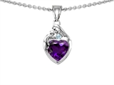Original Star K™ Loving Mother With Child Family Pendant With Genuine Heart Shape Amethyst