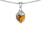 Original Star K™ Loving Mother With Child Family Pendant With Genuine Heart Shape Citrine