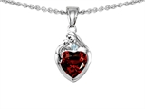 Original Star K™ Loving Mother With Child Family Pendant With Genuine Heart Shape Garnet