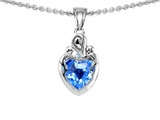 Original Star K™ Loving Mother With Children Pendant With Genuine Heart Shape Blue Topaz