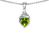 Original Star K™ Loving Mother With Child Family Pendant With Genuine Heart Shape Peridot