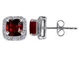 Original Star K Genuine 7mm Cushion Cut Garnet and Diamond earring Studs
