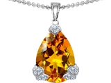 Original Star K Large 11x17 Pear Shape Simulated Citrine Designer Pendant