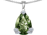 Original Star K Large 11x17 Pear Shape Simulated Green Sapphire Designer Pendant