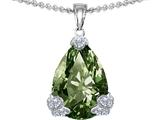 Original Star K™ Large 11x17 Pear Shape Simulated Green Sapphire Designer Pendant style: 304877