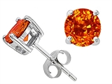 Tommaso Design 5mm Round Genuine Orange Sapphire Earring Studs
