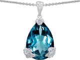 Original Star K Large 11x17 Pear Shape Simulated Blue Topaz Designer Pendant