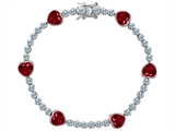 Original Star K Classic Heart Shape 7mm Lab Created Ruby Tennis Bracelet