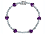 Original Star K Classic Heart Shape Genuine Amethyst Tennis Bracelet In