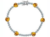Original Star K Classic Heart Shape Genuine Citrine Tennis Bracelet In