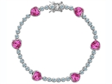 Original Star K Classic Heart Shape 7mm Created Pink Sapphire Tennis Bracelet
