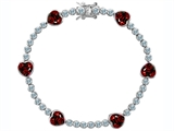 Original Star K Classic Heart Shape 7mm Genuine Garnet Tennis Bracelet