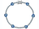 Original Star K™ Classic Heart Shape 7mm Simulated Aquamarine Tennis Bracelet style: 304894